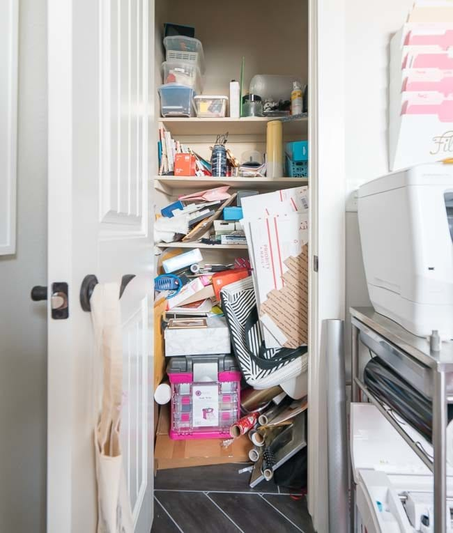 Messy Office Supply Closet