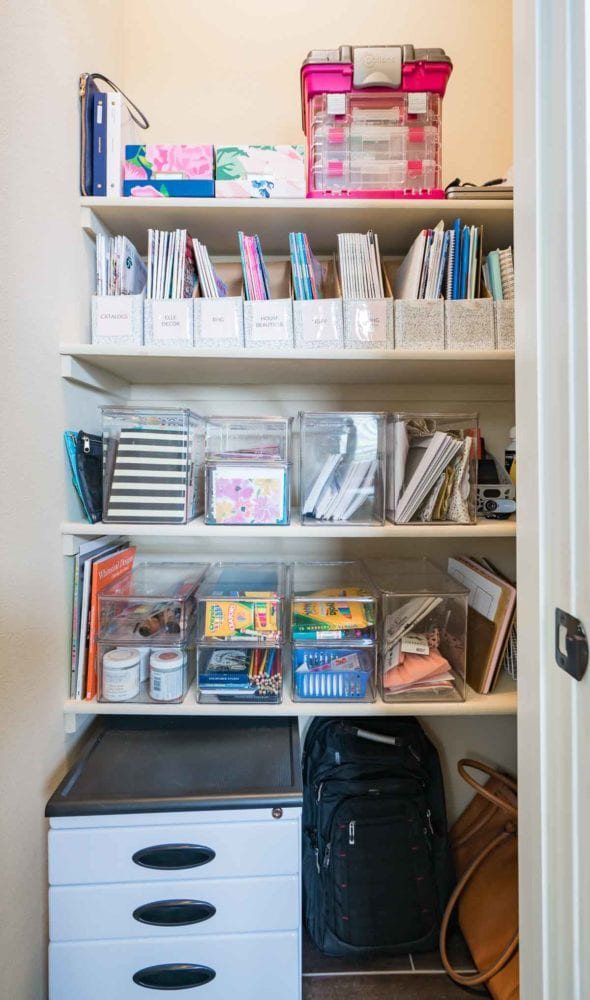 How to Organize a Home Office - This organized closet holds office supplies, magazines, and even a file cabinet!