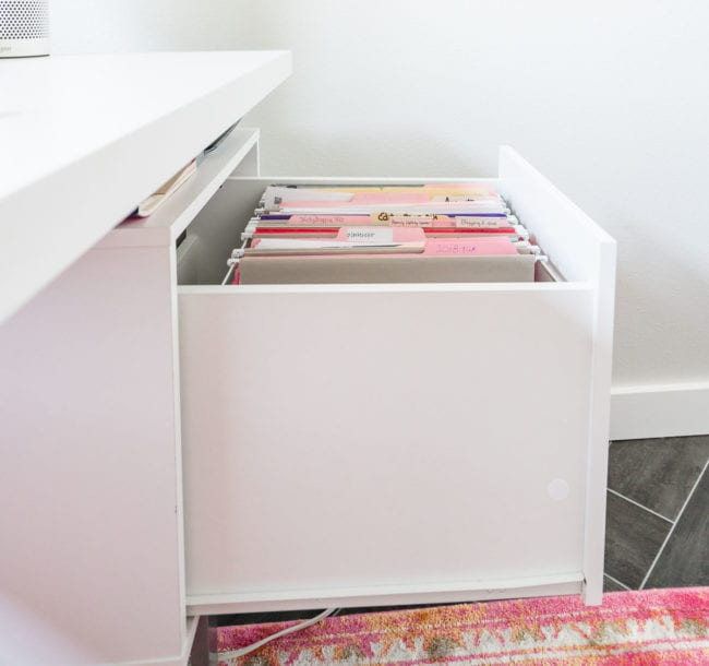 White Desk file drawer