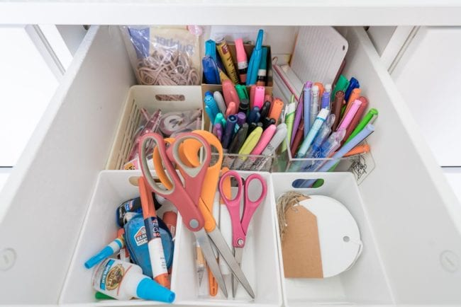 Inside an organized office drawer