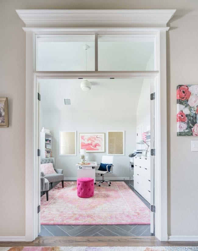 White, Pink and Gold Organized Home Office