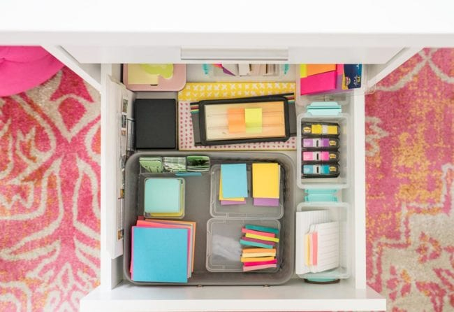 Post it note organization in desk drawer