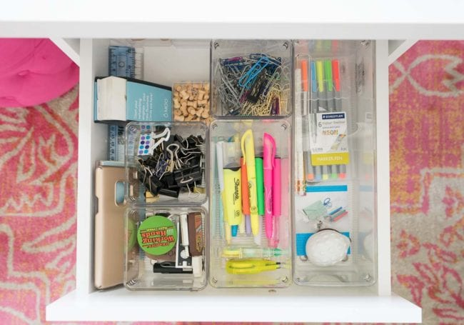 Drawer organization - highlighters, binder clips, etc
