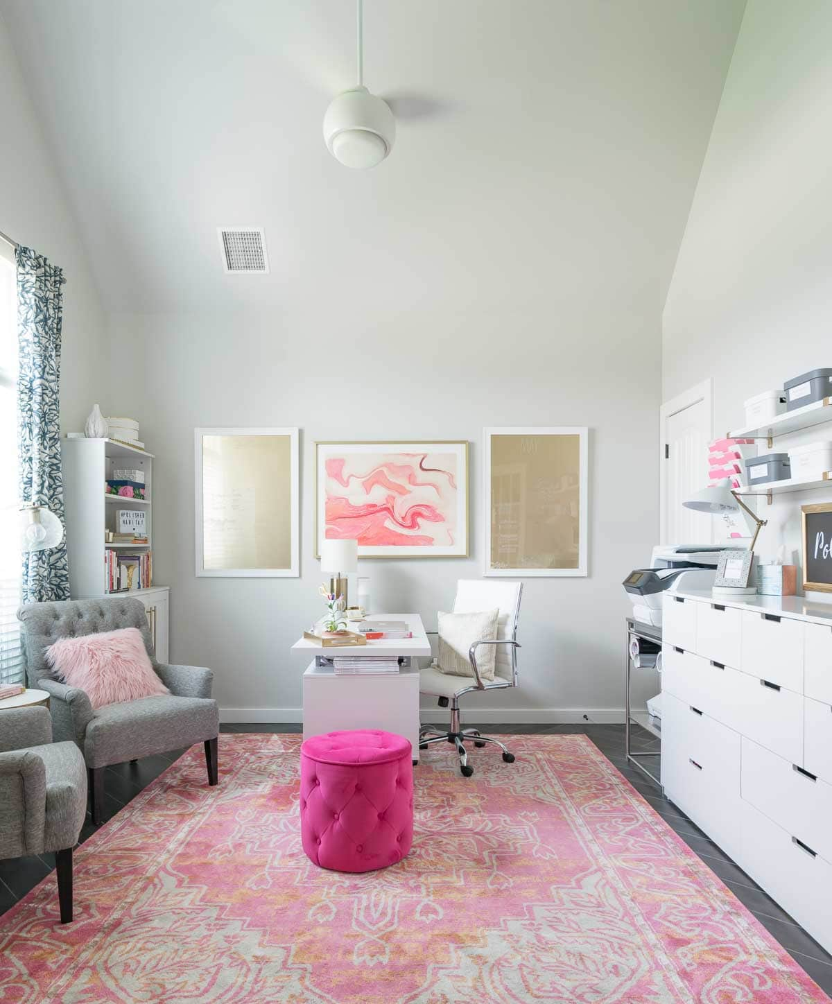 Pink and white office - tons of organization and storage!