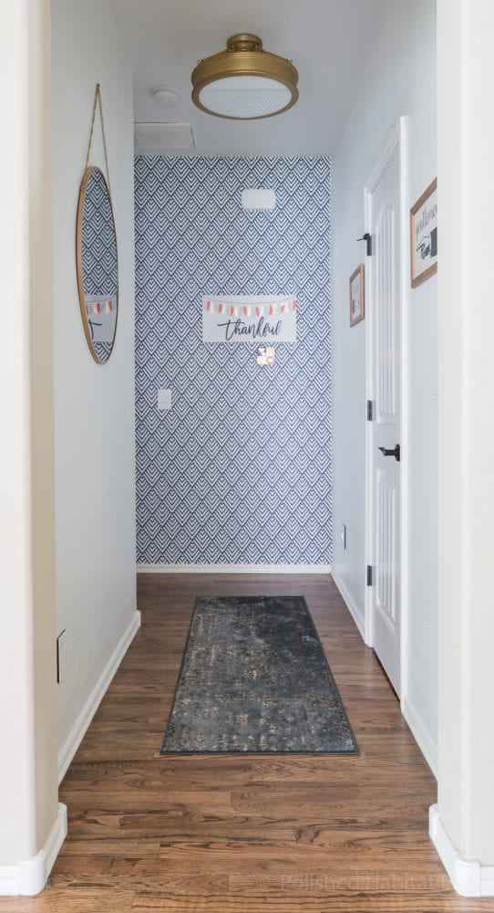 Navy temporary wallpaper used as an accent wall - part of fall home tour