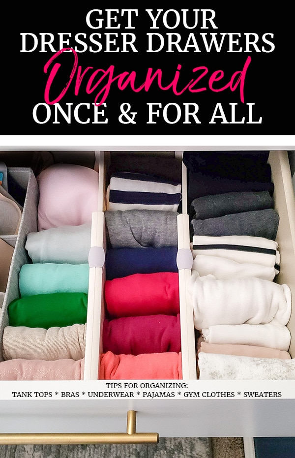 Organized tank tops in dresser drawer