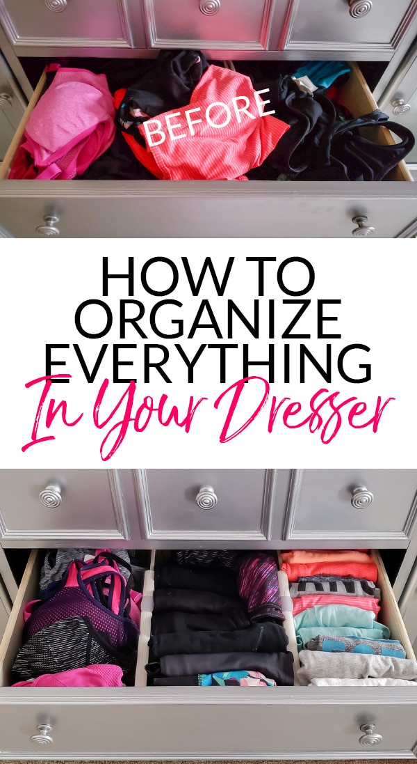 How to Organize Everything in Dresser with Before & After of Gym Clothes