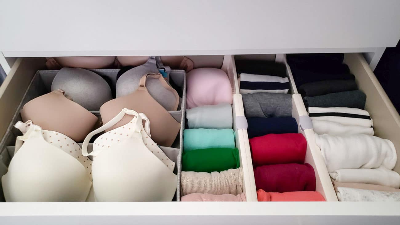 how to organize bras and tank tops in a drawer