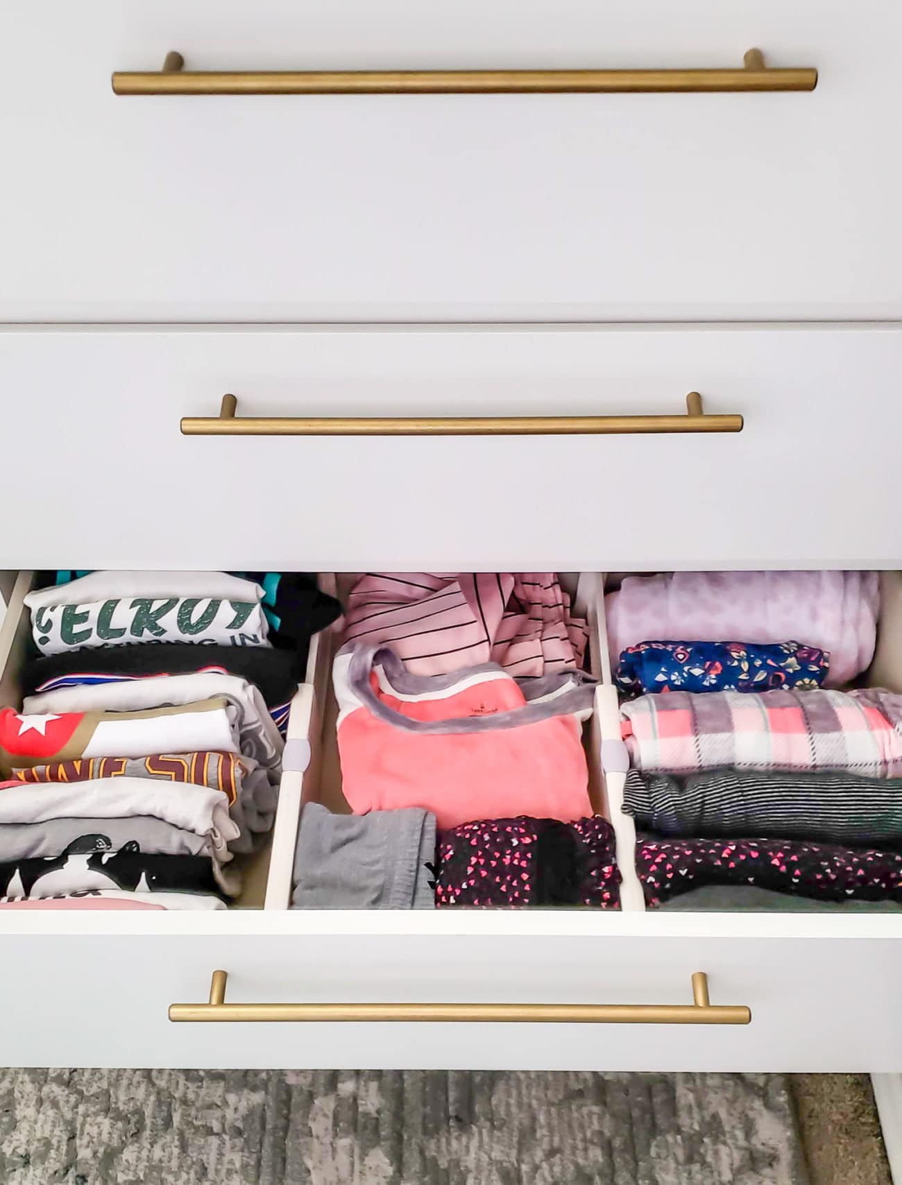 Pajamas organized in dresser drawer