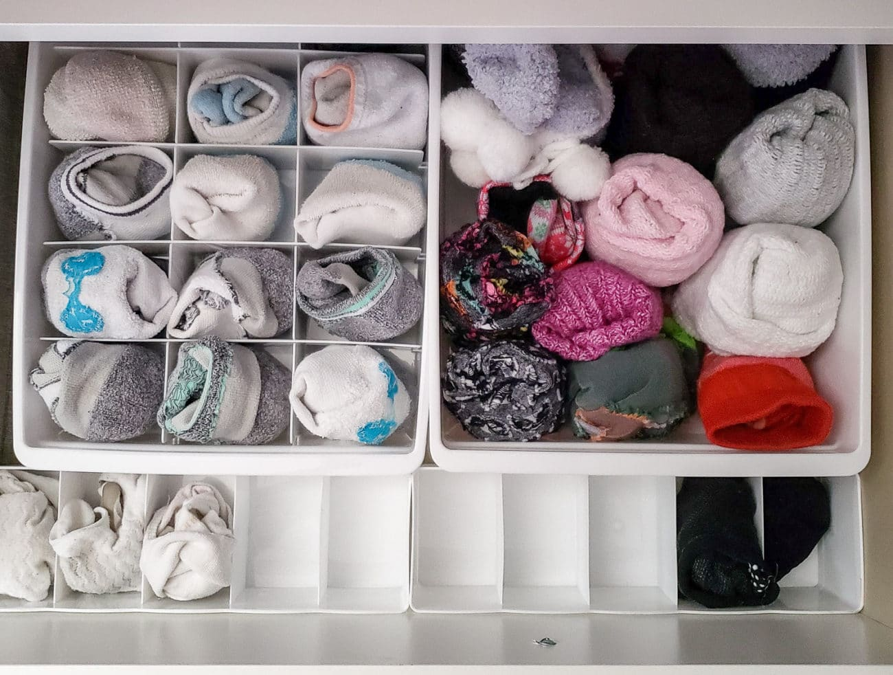 Storing and organizing socks in a dresser