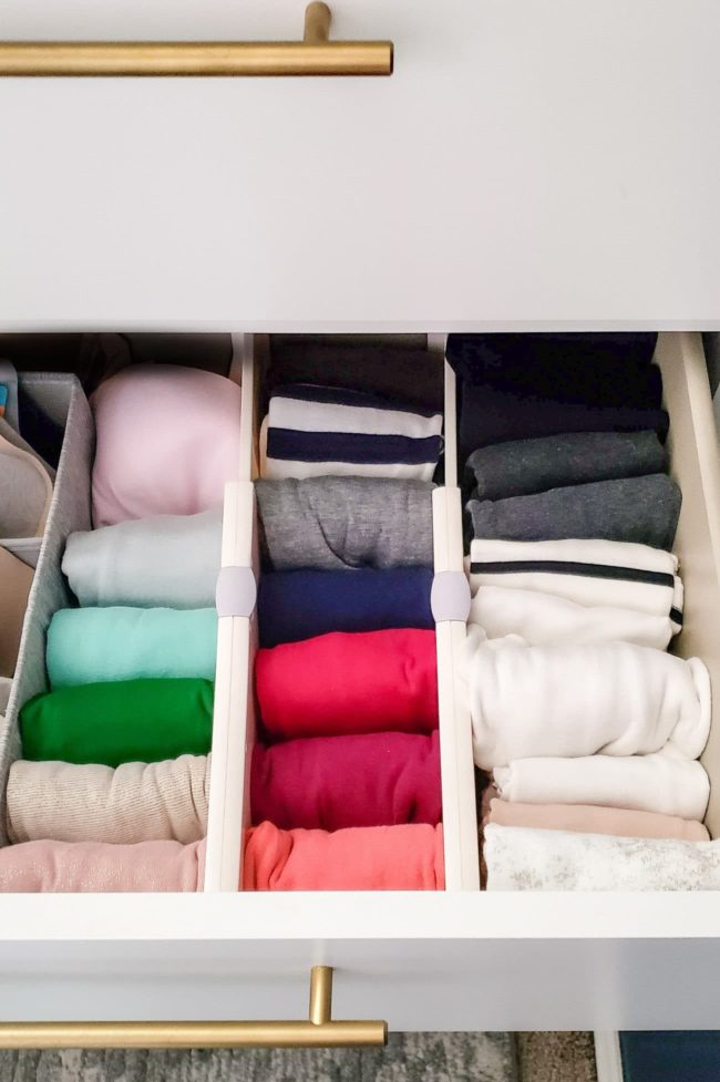 Colorful tank tops in dresser drawer