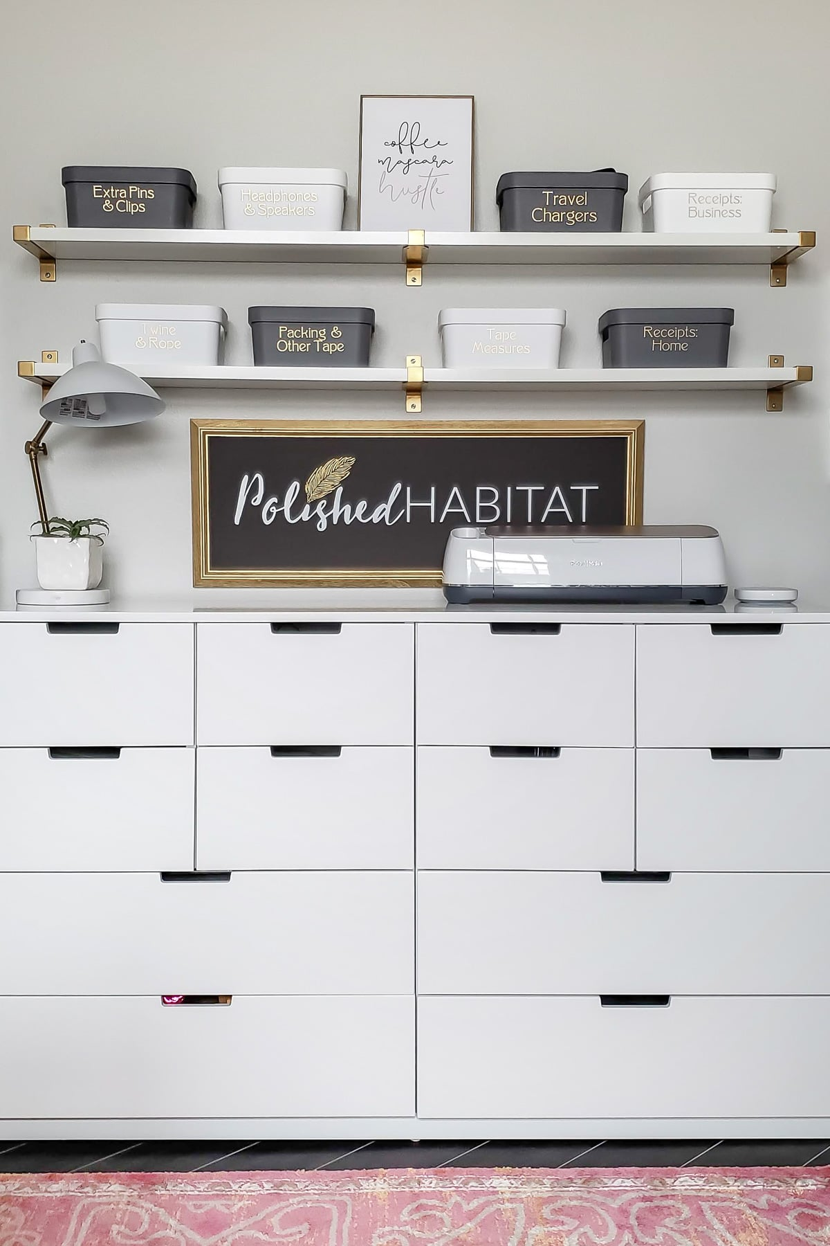 white office storage drawers and shelves