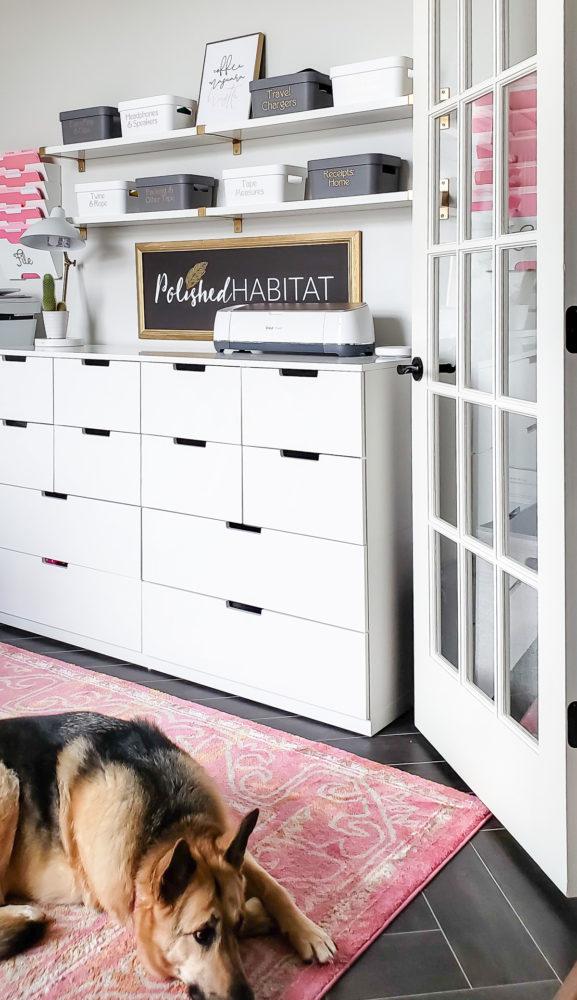 Feminine office with Cricut Maker on White Drawers