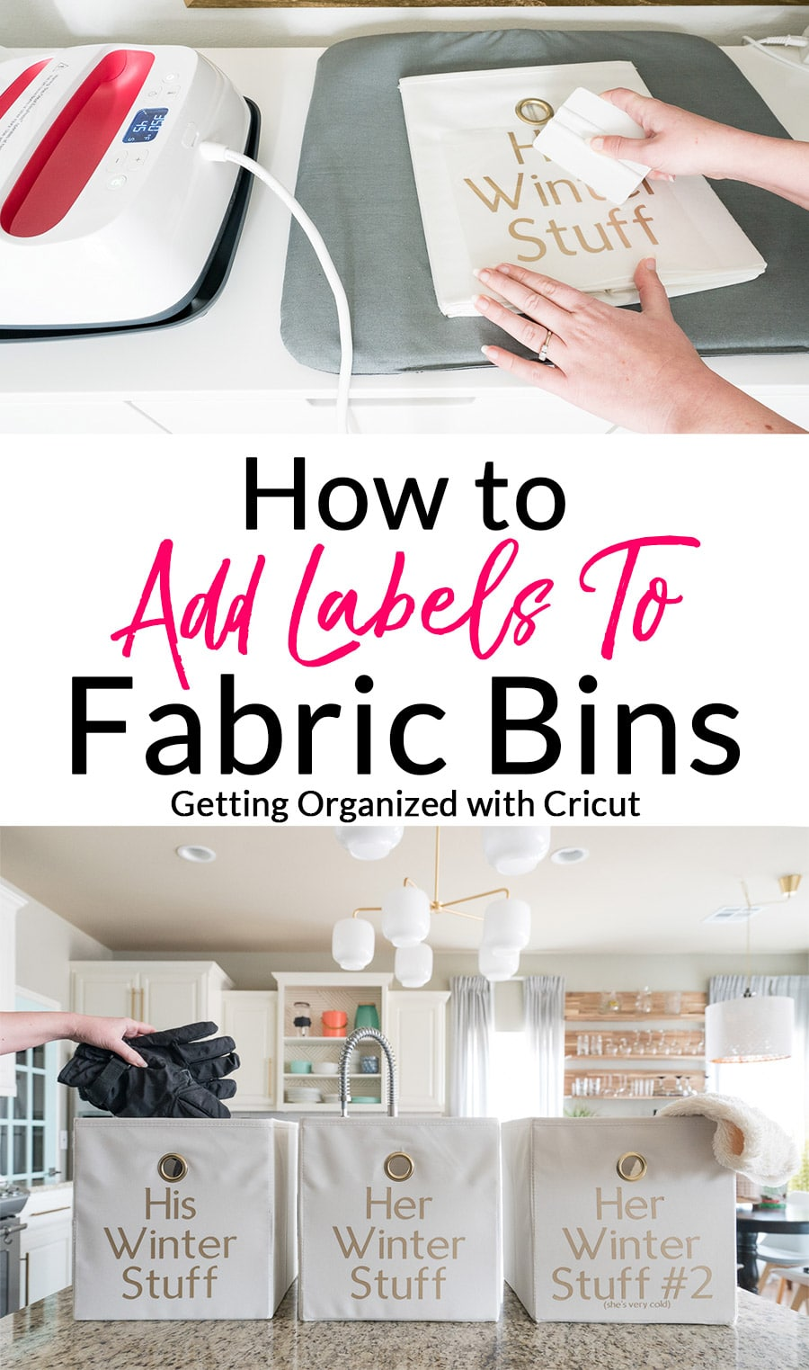 Adding Labels to fabric bins | Cutting iron-on vinyl with Cricut Maker | How to Label Fabric Storage Bins