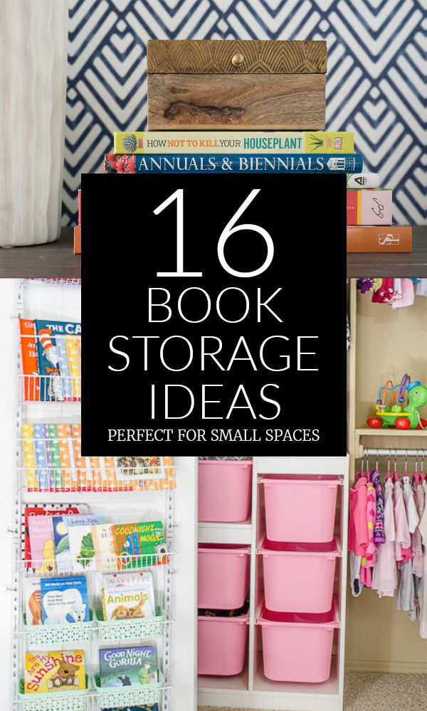 16 Creative Book Storage Ideas - Stack of Gardening Books & Books on Closet Door