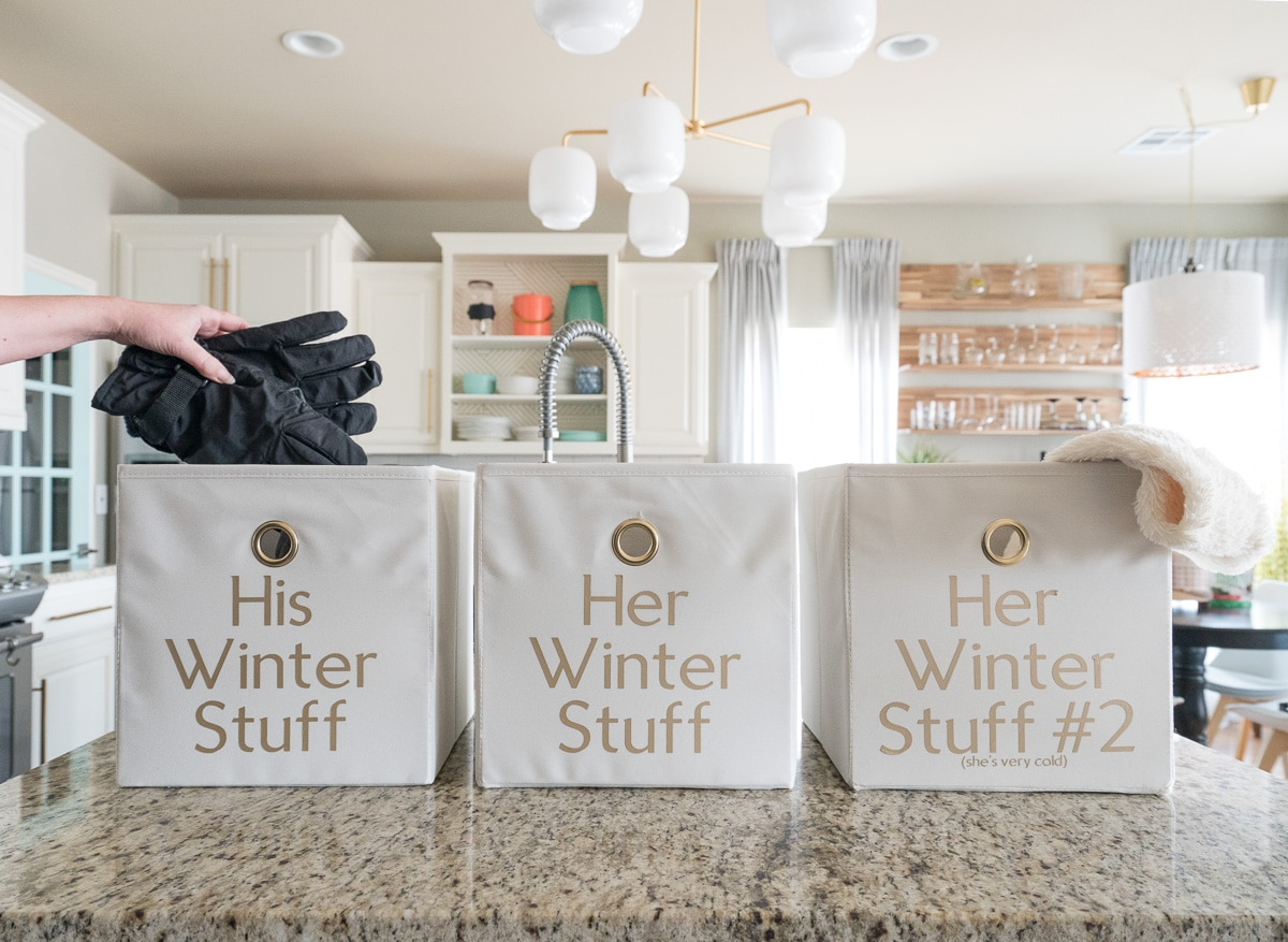 Fabric bins labeled for winter storage | Cutting iron-on vinyl with Cricut Maker | How to Label Fabric Storage Bins