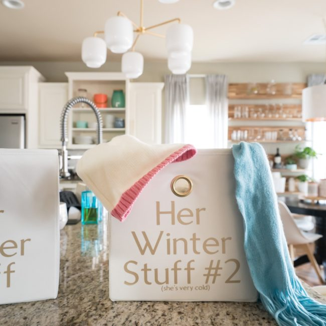 Cute storage bin for winter gloves, hats, and scarves