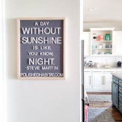 Gray Letterboard with white letters - A Day Without Sunshine is like, you know, night.