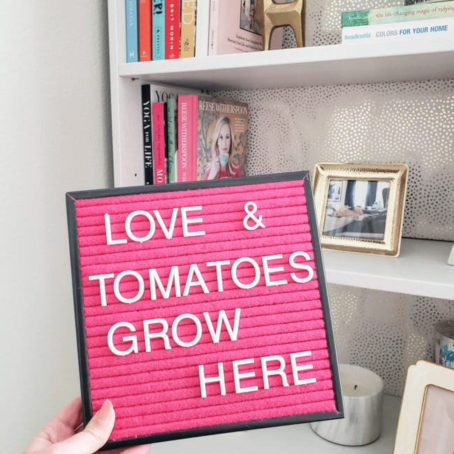 Pink Letterboard for Spring - Love & Tomatoes Grow Here