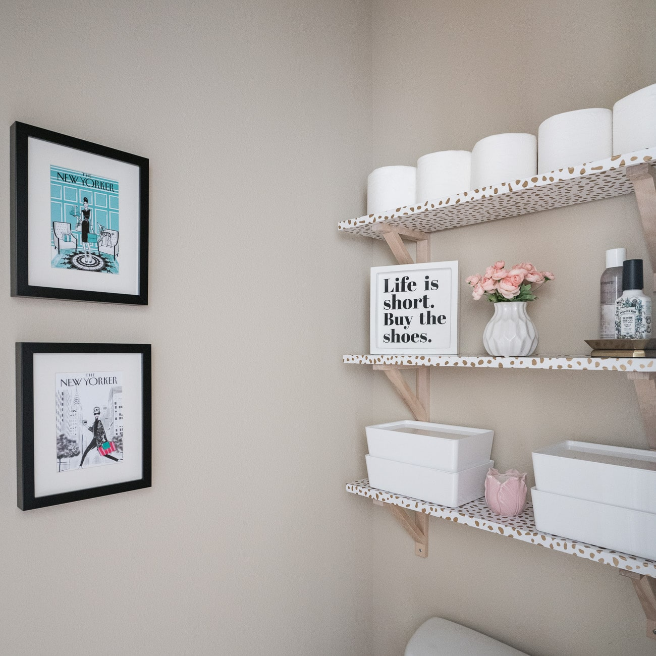 Adding Storage Over the Toilet Water Closet Makeover - Polished