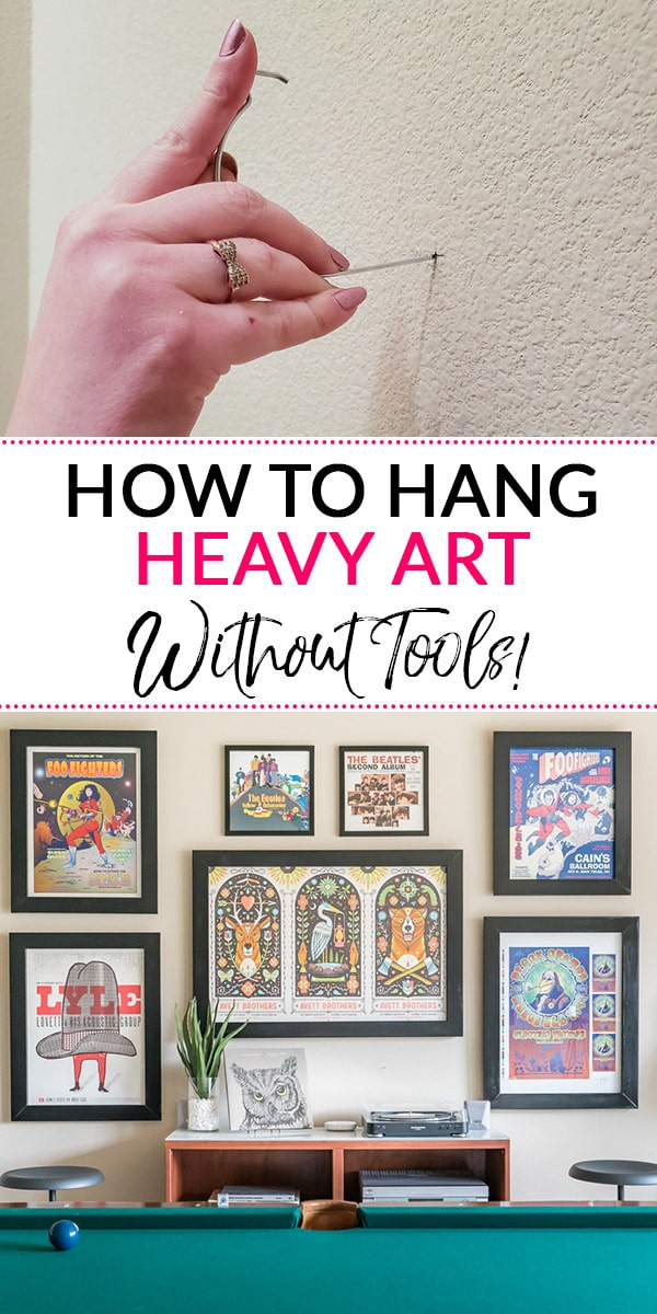 How to Hang Heavy Pictures (Picture of hook and finished gallery wall)