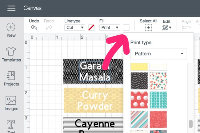 Cricut Design Space Screenshot - Making Spice Labels