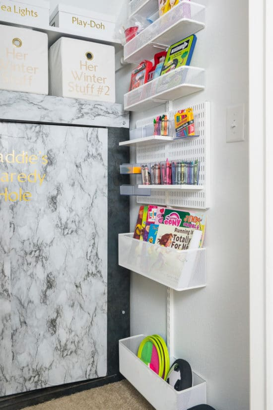 Crayon & Coloring Book Storage on a Wall Unit