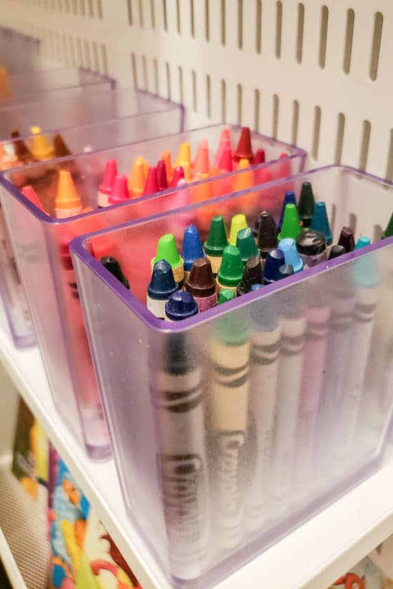 Crayons in Elfa Storage