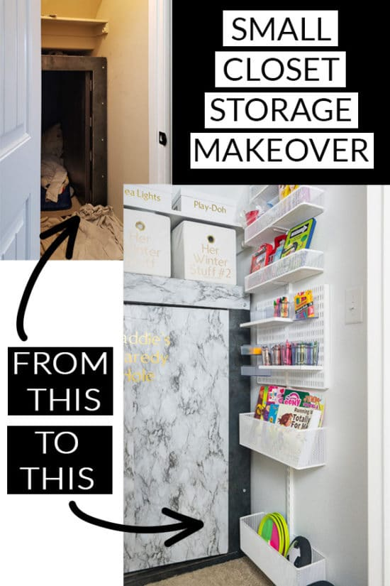 Before and after storage closet organization