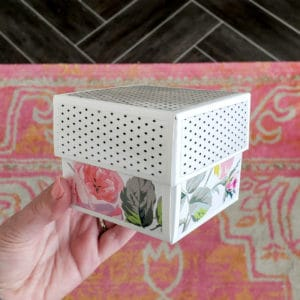 DIY Gift Box with floral bottom and modern black and white top.