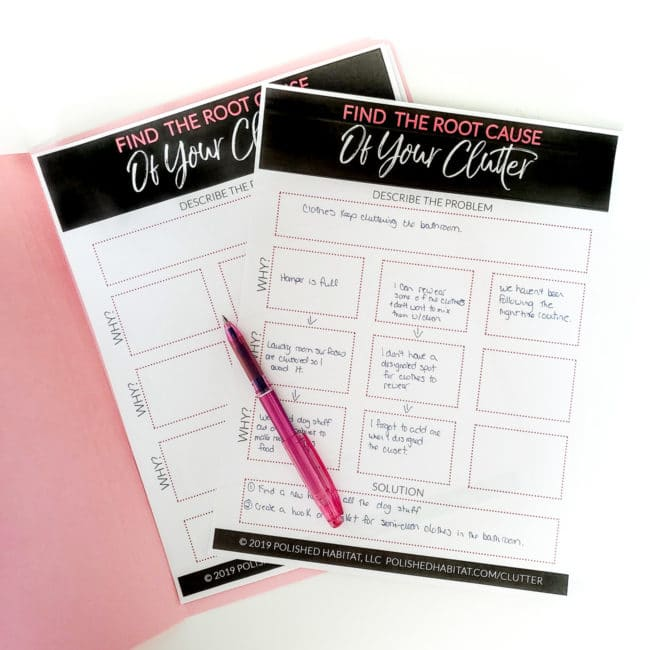 Free Printable Worksheet to help you solve your home clutter problems for good!