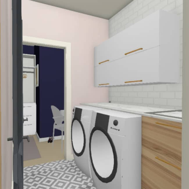 Laundry Room Makeover Rendering