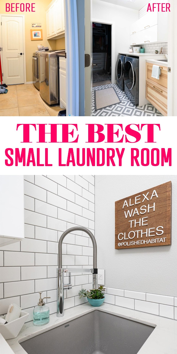 Small Laundry Room: White tile wall, gray washer dryer, wood cabinet and Blanco sink