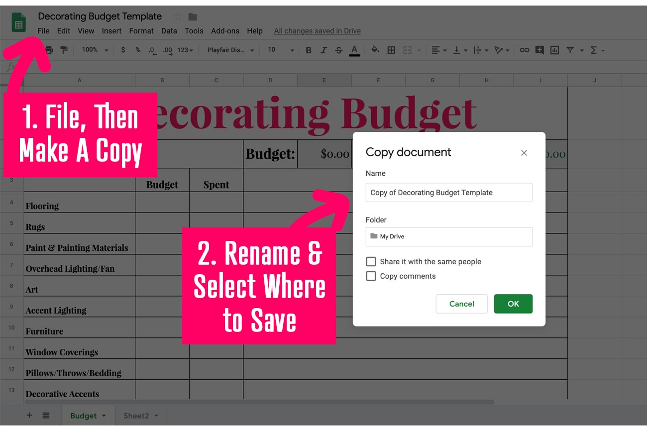 Decorating Budget Tracker in Google Sheets