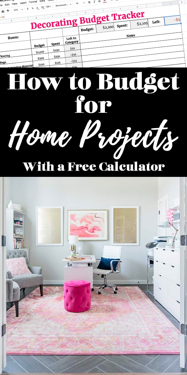 How to Budget for Home Projects (Text on Image of White and Pink Office)
