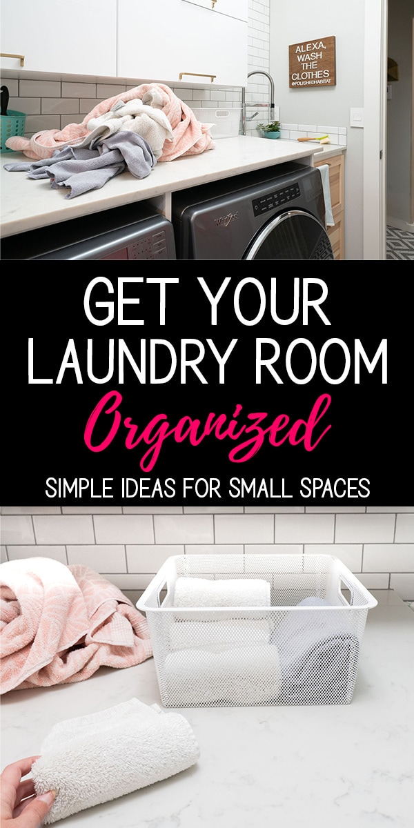 Text with Picture of white laundry room - Get your laundry room organized