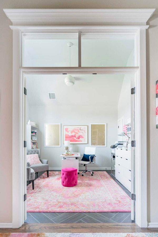 Office with White Furniture, Pink Rug, and Gold Accents