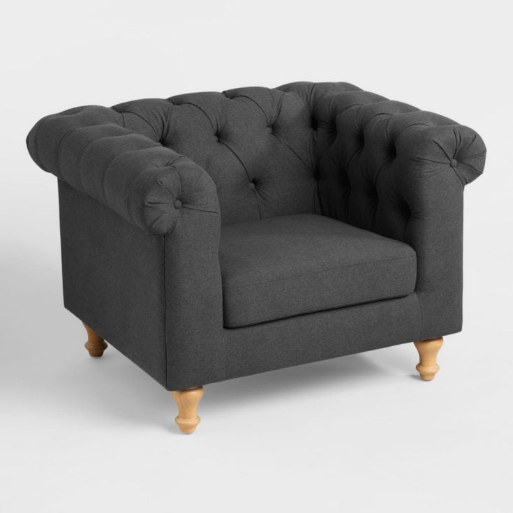 Charcoal Gray Chesterfield Chair