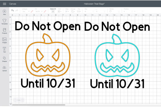 Cricut Design Space Haloween Bag Design