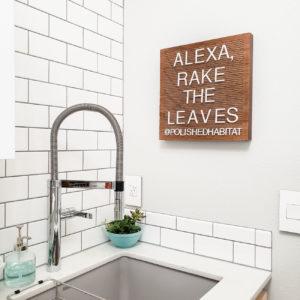Fall wood letter board saying Alexa, Rake the Leaves