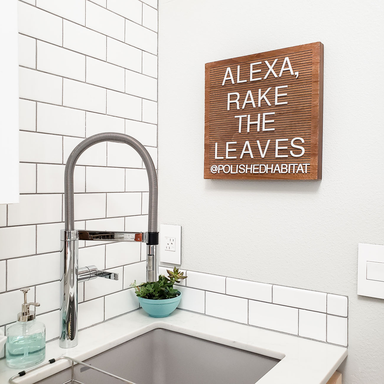 Fall wood letter board saying Alexa, Rake the Leaves