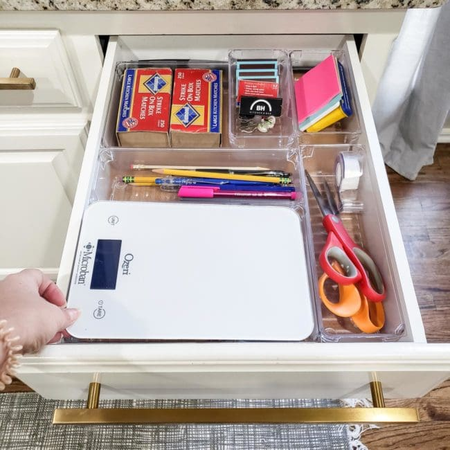 Organized Kitchen Drawer with Scissors, Tape, pens, etc.