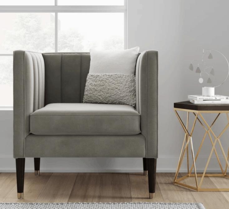 Channel Tufted Chair Gray Velvet