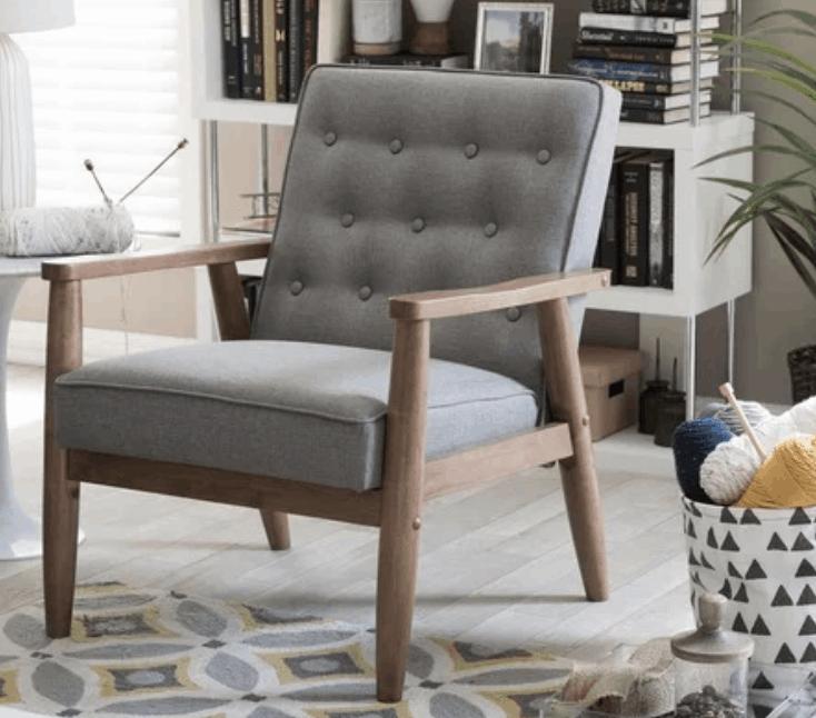 Mid-Century Grey Fabric Chair