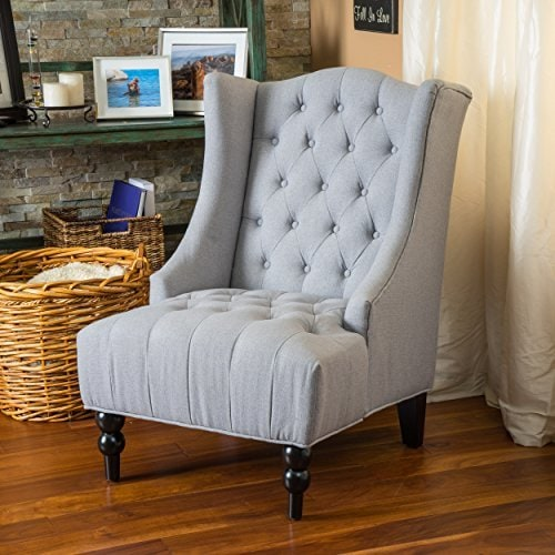 Traditional Accent Chair, Grey