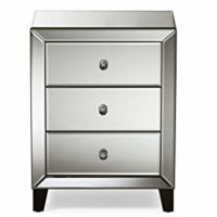 Hollywood Regency Glamour Style Mirrored 3-Drawers Nightstand Bedside Table