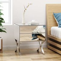 Modern Iron and Faux Wood 2-Drawer Nightstand