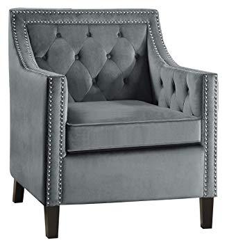 Velvet Accent Chair, Gray