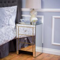 3 Drawer Side Table, Mirror/Gold
