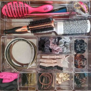 Bathroom drawer organization - hair supplies in clear containers
